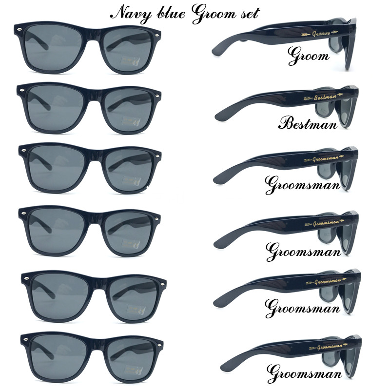 6 Pairs/lot Black Groom Bestman Groomsman Party Sunglasses With Gold Metal Stickers Groomsman Gift Wedding Sunglasses