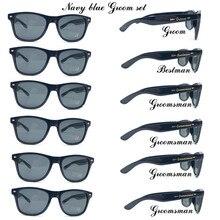 Bestman gafas de sol de fiesta con pegatinas de Metal dorado para novio, lentes de sol para bodas, color negro, 6 par/lote