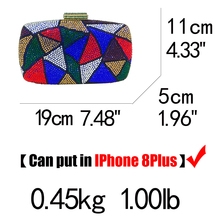 Multi Plaid Crystal Rhinestones Women Evening Clutch Bag (8 colors)