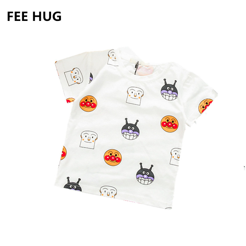 FEE HUG 100% Cotton Girls Summer T shirts 2018 Print Short Sleeve Tee Tops Children Boys O neck Tops Shirts 1-5 y Kids Outfits