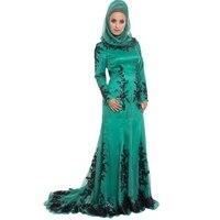2016 Арабский мусульманский выпускное платье с длинными рукавами es Robe de Mariage хиджаб Дубай Черный Аппликации блёстки Caftan зеленое женское плать