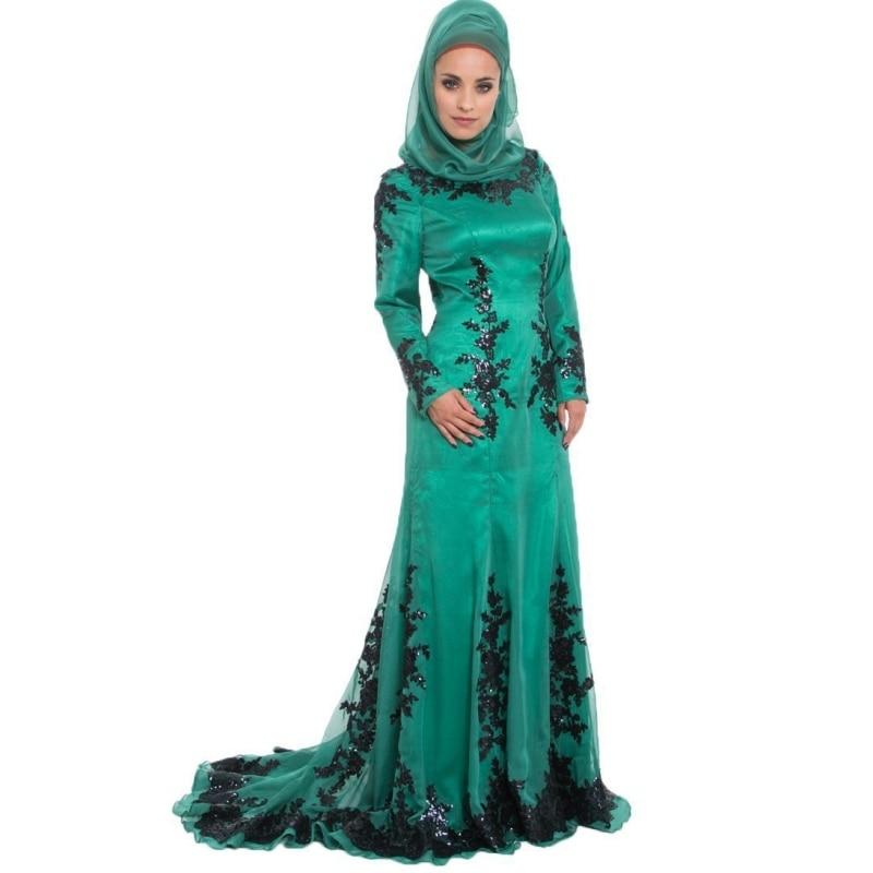 2016 Arabic Muslim Long Sleeves Prom Dresses Robe de Mariage font b Hijab b font Dubai