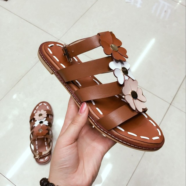 7720de3a3 Brown Color Leather Flower Embellished Bohemian Sandals Beach Shoes Ankle  Strap Gladiator Flat Sandals