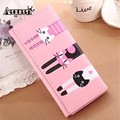 AEQUEEN Cute Cat Wallet Women Wallets Leather Long Coin Purses Credit Card Holders Cartoon Purse Girls Money Pouch Lady Clutches