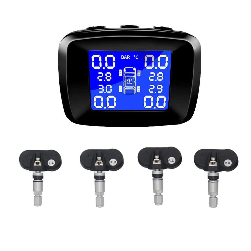 CARPRIE Tire Pressure Monitor Systems Tpms Sensor Tyre Tire Pressure Cigarette Lighter Solar Wireless 4 Internal Sensor May13