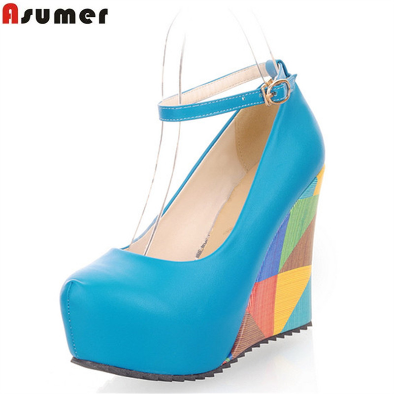 ASUMER 2016 new arrive fashion sexy wedges high heels women pumps PU leather ladies peep toe
