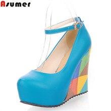 Asumer/Новое поступление 2016 модные пикантные женские туфли-лодочки на высоком каблуке и платформе Искусственная кожа с открытым носком свадебные туфли женщина HH853