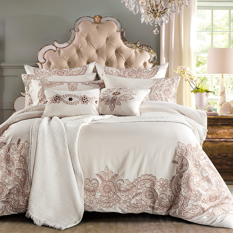 Ivarose 4 7pcs Europe Luxury Bedding Sets Embroidery