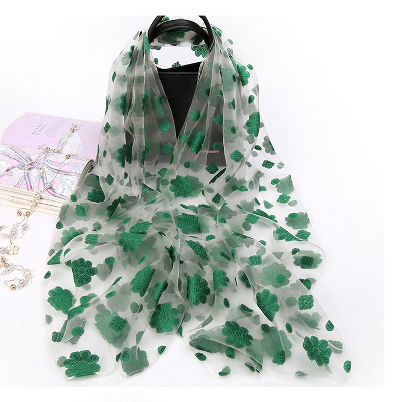 Women Lightweight Organza Shawl Imitated Long Silk   Scarf   Soft Floral Beach   Wrap   Head   Scarves   Hijabs for Muslim Woman AA10202