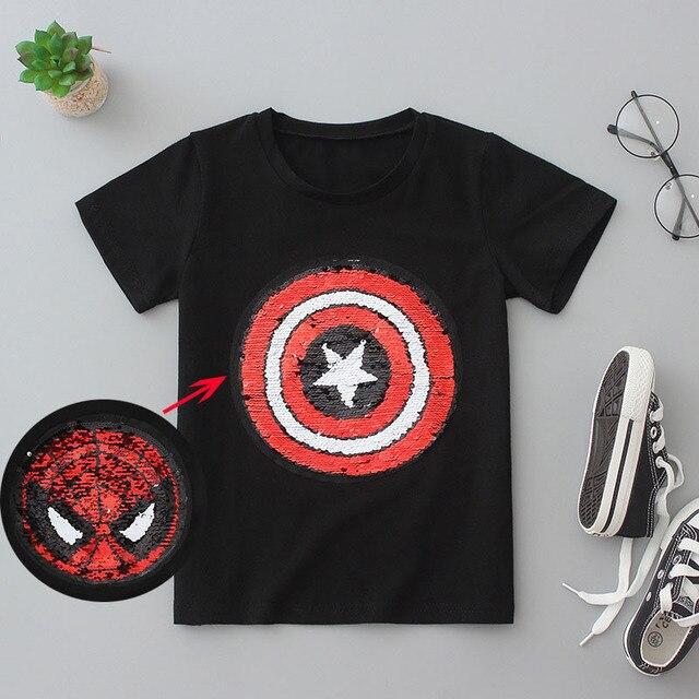 22211aa7f Nuevo estilo spiderman vengadores lentejuelas Camisetas Niño moda camiseta  para niño niños ...