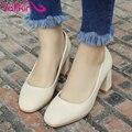 Vallkin 2017 square toe mujeres bombas zapatos de boda de las mujeres elegantes Zapatos de Tacón alto de Oficina Señoras Tacón Cuadrado Bombas de Gran Tamaño 34-42
