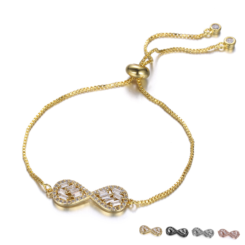 Fashion Crystal Infinity Design Geometric Bracelets For Women Water Drop Bling Rhinestone Stone Hand Bracelet Femme Accessories