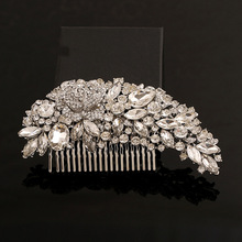 Charmelry Silver Crystal Clear Crystals Wedding Bride Bridal Hair Accessories Floral Hair Comb Head Pieces Hair Pins Jewelry elegant crystal rhinestone wedding hair accessories bride bridal floral hair comb head hair jewelry rhinestone crystal o904