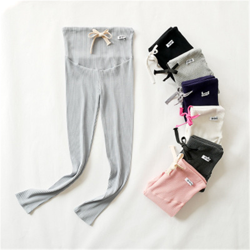 Vertical striped maternity leggings Cotton pregnancy ninth pants adjustable button hold Pregnant women's abdomen trousers