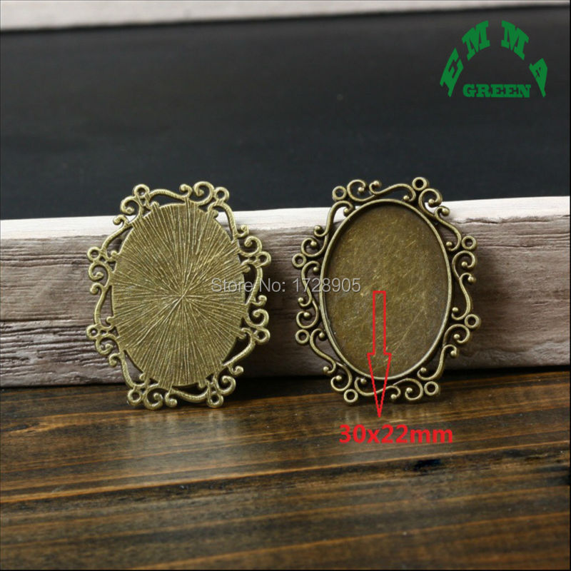 663a34cb9 Filigree Cameo Oval Cabochon Base Setting Pendant Tray Fit 30*22 mm Jewelry Blanks  10 pcs Antique Bronze