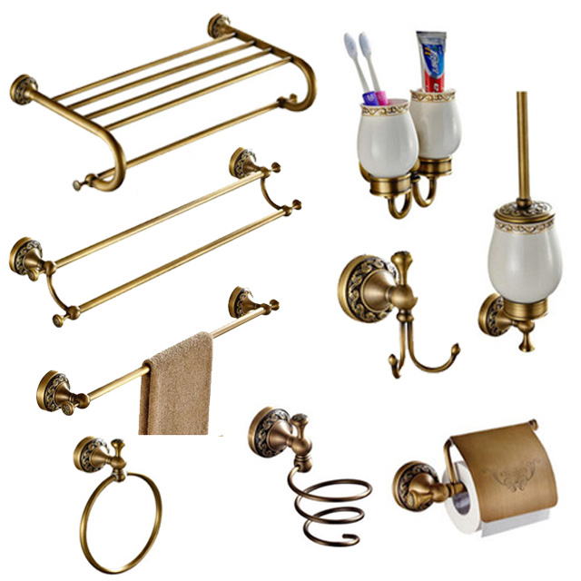 Antique Bronze Carved Brushed Bathroom Hardware Sets Wall Mounted Bathroom Products Brass Towel Ring Bathroom Accessories Set HQ bathroom hardware set bathroom hardwarehardware bathroom - AliExpress