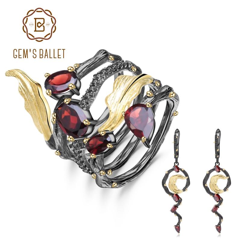 GEM'S バレエ 3.95Ct 天然赤ガーネットイヤリングリングセット 925 スターリングシルバーヴィンテージゴシックジュエリーセット女性のためのファインジュエリー  グループ上の ジュエリー & アクセサリー からの ジュエリーセット の中 1