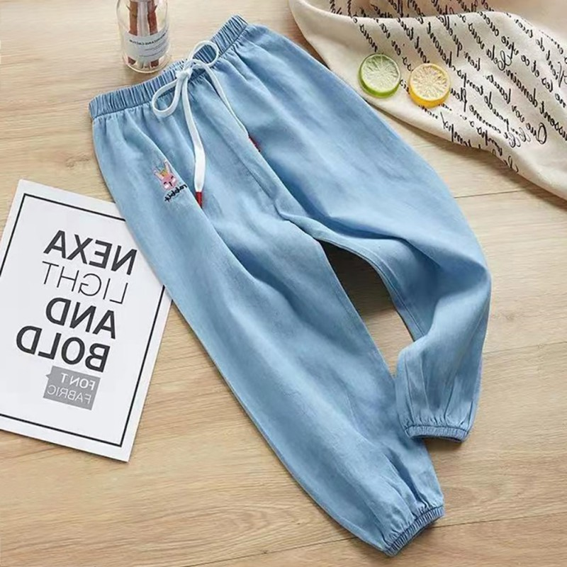 Cute Children Kids Solid Color Pants Cotton Casual Thin Section Anti Mosquito Pants 2 10Y Lovely Toddler Clothes in Pants from Mother Kids