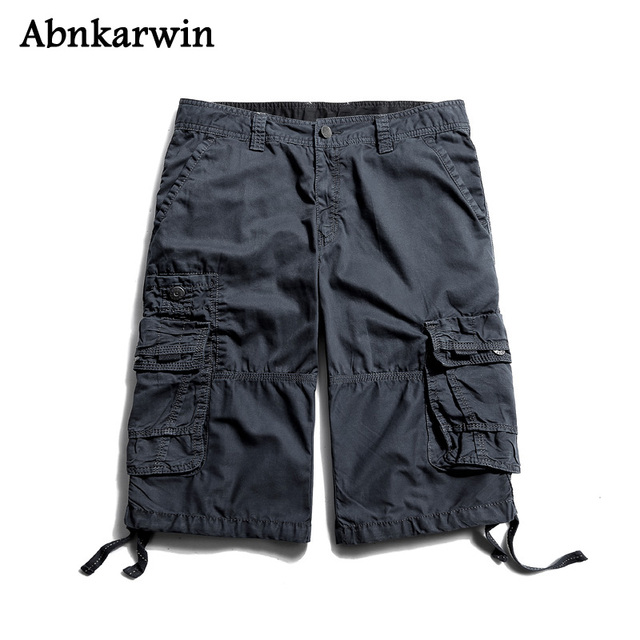 Size 29-38 High Quality 100% Cotton Military New Brand Men Cargo Shorts 2018 Latest Multi-Pocket Loose Male's Trousers Not Belt