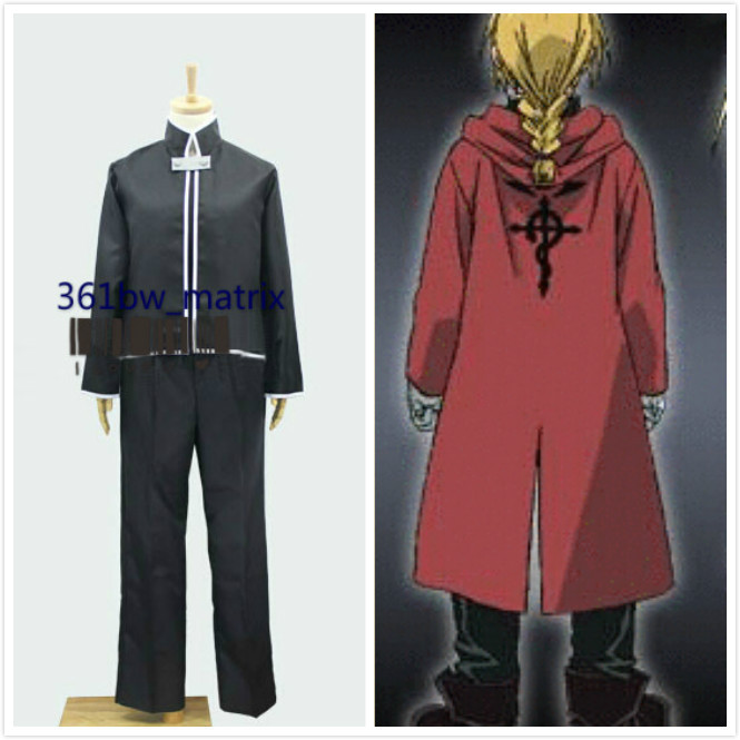 Anime Fullmetal Alchemist Cosplay Costume Edward Elric Black Top Pants Halloween Costume New Free Shipping Drop