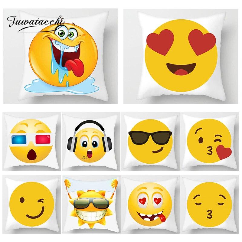 Fuwatacchi Emoticon Bonito Capas De Almofada de Impressão Engraçado Dos Desenhos Animados Emoji Travesseiro Cobre Decoração de Casa Almofadas Cobrir Cadeira Do Sofá Fronhas
