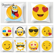 Fuwatacchi Cute Emoticon Print Cushion Covers Cartoon Funny Emoji Pillow Home Decor Pillows Cover Sofa Chair  Pillowcases