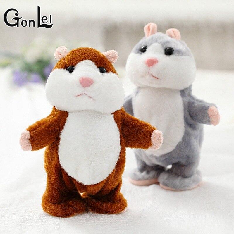 GonLeI Cute Walking Russian Talking Hamster Wooddy Time Stuffed Plush Animal Dolls Speaking Kid Educational Toy Repeat Sound