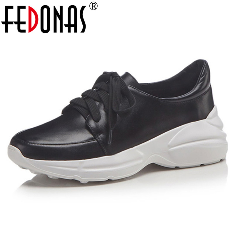 FEDONAS Fashion Women Flats Genuine Leather Lace Up High Platforms Casual Shoes New 2019 Breathable Sport