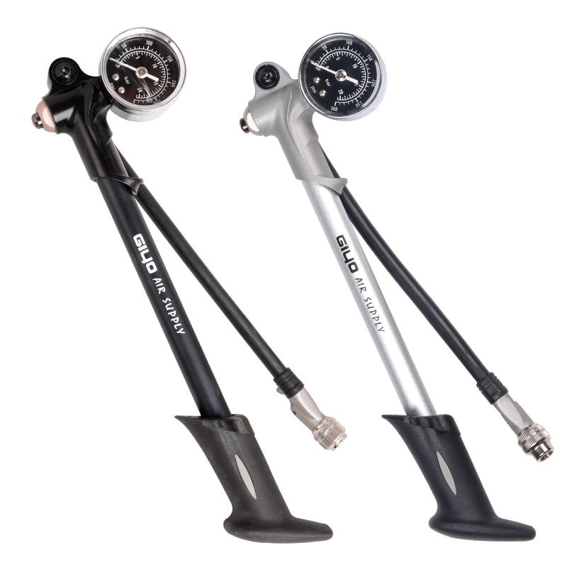 Giyo 300psi fonte de ar inflator bicicleta bomba para inflar garfo choque se encaixa schrader com psi/barra calibre sangrador mangueira dobrável gs02d