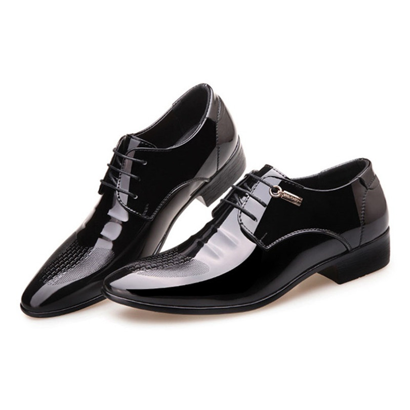 LIN KING New Spring Autumn Men Dress Shoes Big Size Man Leather Casual Shoes Lace Up Pointed Toe Formal Shoes Male Oxfords Shoes in Formal Shoes from Shoes