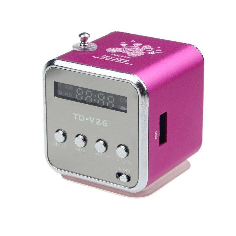 Novo portátil mp3 player de música lcd tela amplificador micro sd tf cartão usb disk alto-falante com rádio fm produtos eletrônicos arco-íris