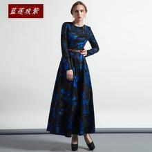 Autumn dress women's long design o-neck long-sleeve slim expansion bottom full dress female vintage long dress Ladies