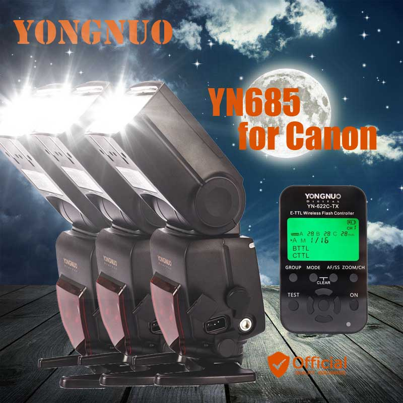3x YONGNUO YN685 C Flash Speedlite GN60 Wireless TTL HSS 1/8000S+Trigger for Canon 1d 1ds 1dx 5d ii iii 7d 70d 60d 50d 40d 700d yongnuo yn568ex iii wireless ttl sync 1 8000s hss flash speedlite for canon 1dx 1ds 5d mark iii iv 70d 80d 7d 6d 700d 750d