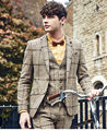 (Jacket+Pants+Vest) 2017 New Designer Men Suit Styles Slim Fit Plaid Groom Wedding Tuxedo Prom Party Suits Bridegroom