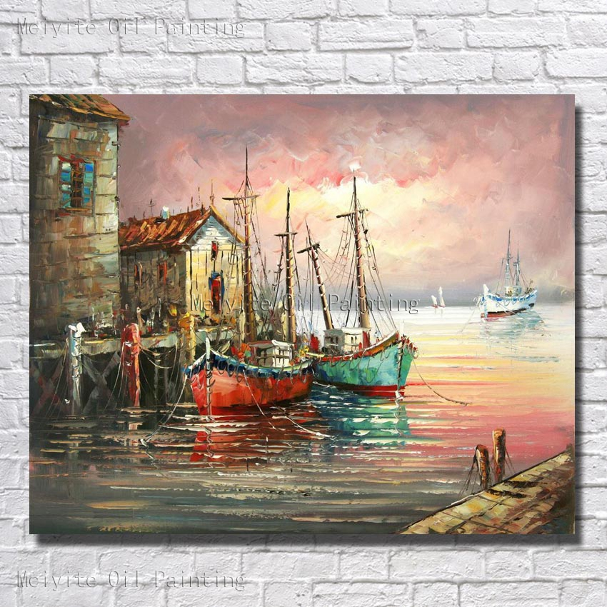 Fishing Port And Boat Landscape Wall Picture Big Size Hand Paint Canvas Wall Art Cheap Modern Paintings