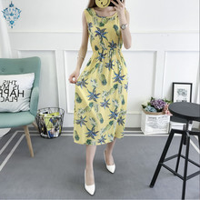 Ameision Plus Size Pineapple Printed Women Summer Sleeveless Casual Beach Dress Plaid Cotton Vintage Maxi Dresses Vestidos