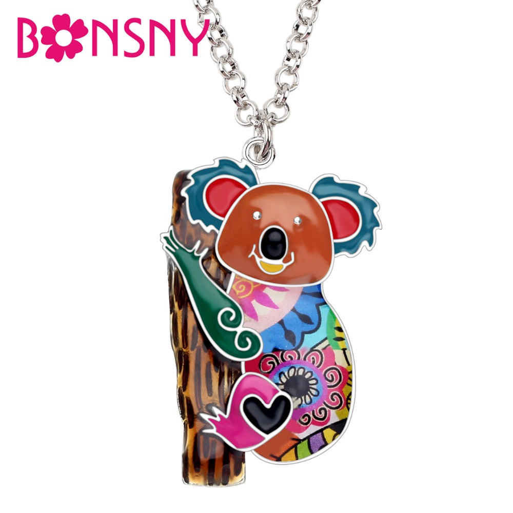 Bonsny Enamel Alloy Australia <font><b>Koala</b></font> <font><b>Bear</b></font> Necklace Chain Pendant Choker Novelty Animal <font><b>Jewelry</b></font> For Women Teens Girls Gifts Bijoux image