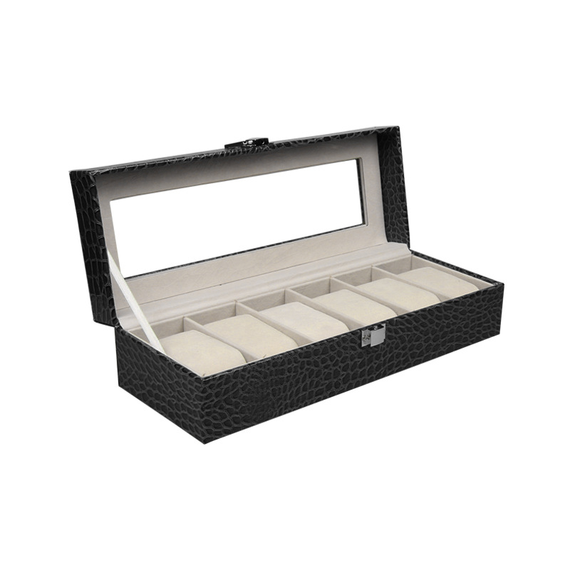 Professional 6 Grids Black PU Leather Watch Box Jewelry Display Box Transparent Glass Cover Watch Box black out watch box