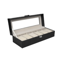 Professional 6 Grids Black PU Leather Watch Box Jewelry Display Box Transparent Glass Cover Watch Box