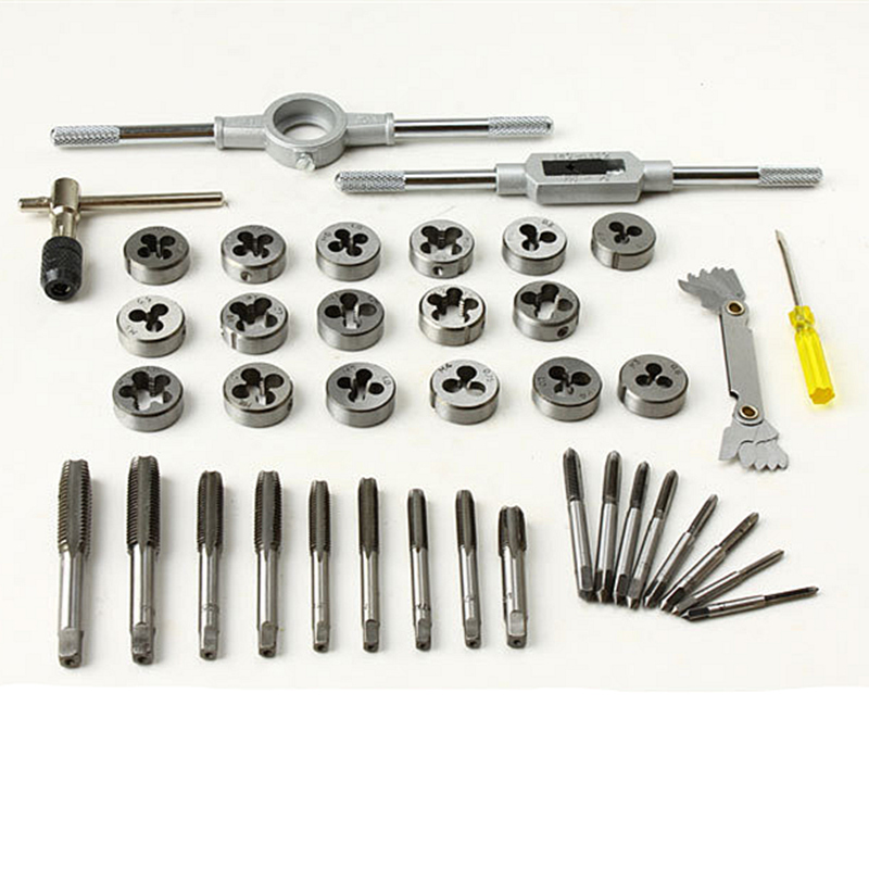 40Pcs/Set Alloy Steel Tap and Die Set Metric Tapping Threading Machine Thread Gauge Drift Holder Hand Tools 20pcs m3 m12 screw thread metric plugs taps tap wrench die wrench set