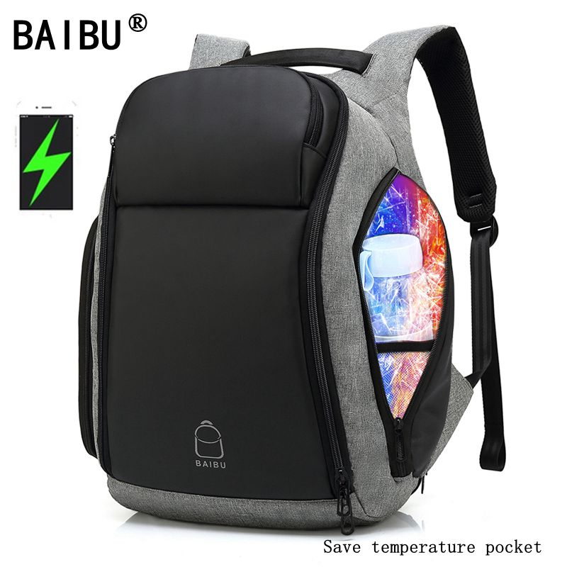 BAIBU Men 17 Inch Laptop Anti-theft Backpack Water Repellent Multifunct Rucksack With USB Charging Port Travel Backpacks Male