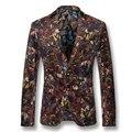 2016 Hombres Abrigos Chaquetas Blazers Florales Vestido de Trajes de Hombre de Moda Casual Delgado Herren Anzug Veste De Loisir Solapa Con Muescas Blazers