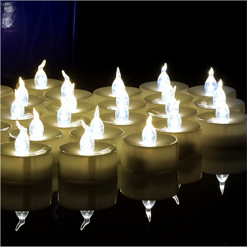 Warm WhIte Flickering Tea Lights 100 Plastic LED Candles 100 pcs Flameless Electric General Candles