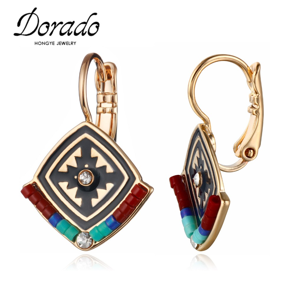 Dorado France Hot Gold Silver Color Red Black Rhinestone Drop Earrings Enamel Ethnic Earrings for Women Brincos Grandes image