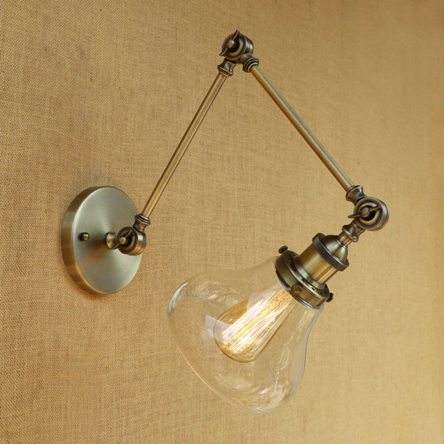 Vintage Industrie Loft E27 Slaapkamer Wandlamp Wandlamp Helder Glas