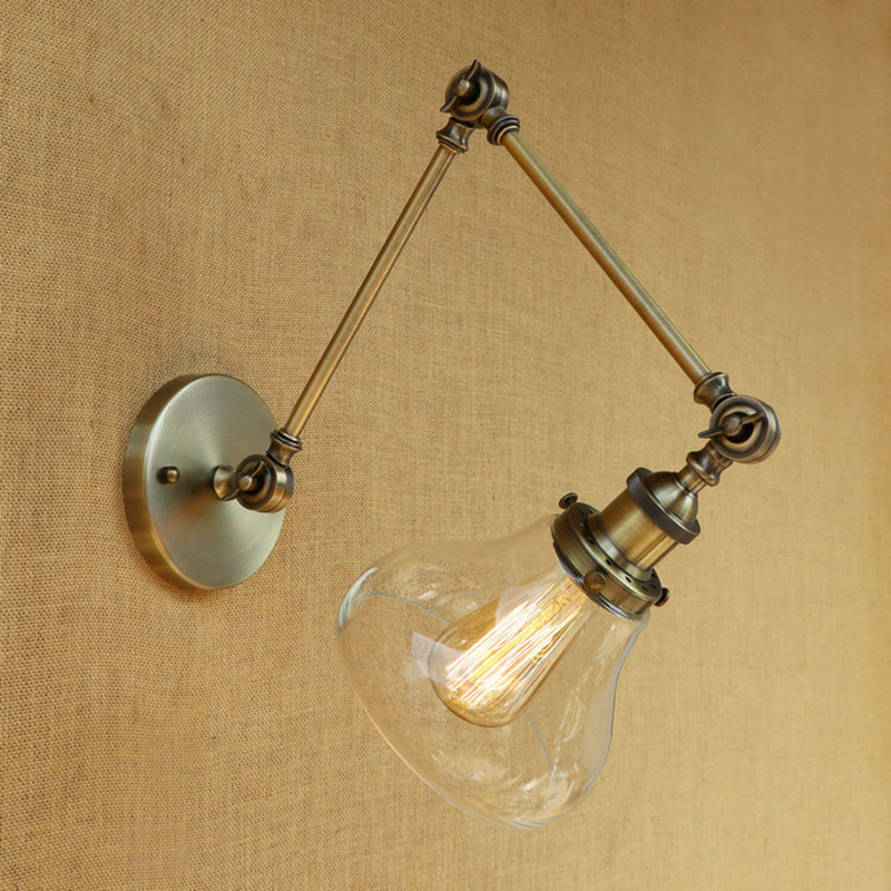 Vintage industry Loft E27 bedroom wall light wall lamp CLEAR GLASS lampshade free adjust long swing arms for living room vintage antique clear glass lampshade wall lights adjust long swing arm wall lamp e27 110v 220v wall sconce bedroom dining room