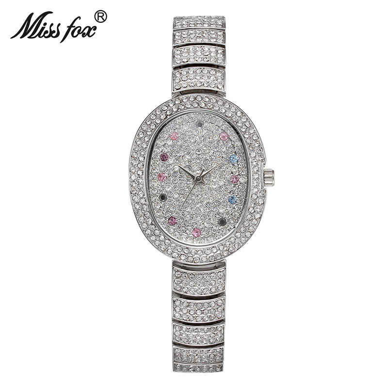 MISSFOX nouvelle autriche cristal minimaliste montres d'affaires femmes montre de mode 2019 marque pleine diamant femme petite montre à Quartz