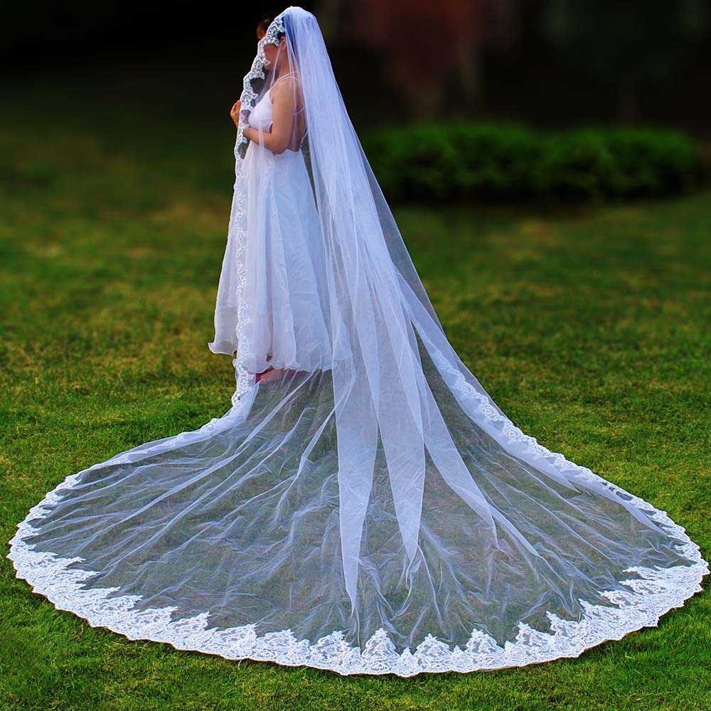 Real Photos Sparkling Sequined Lace Edge 4 M Long Wedding Veil With Comb Velos De Novia Bridal Accessories Voile Bridal Veil