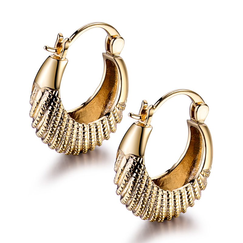 Gulicx Fashion Twill Ethnic Basket Hoop Earrings For Woman White And Gold Color Ear Pierced Wedding Jewelry E421 In From