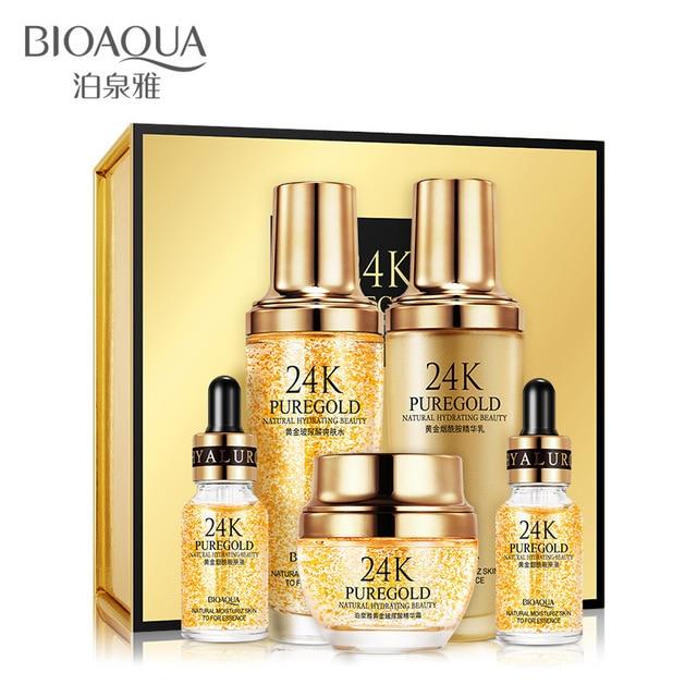 New BIOAQUA Pure 24K Gold Essence Anti Wrinkle Face Sets Skin Care Anti Aging Collagen Whitening Moisturizing Cream Acid Liquid